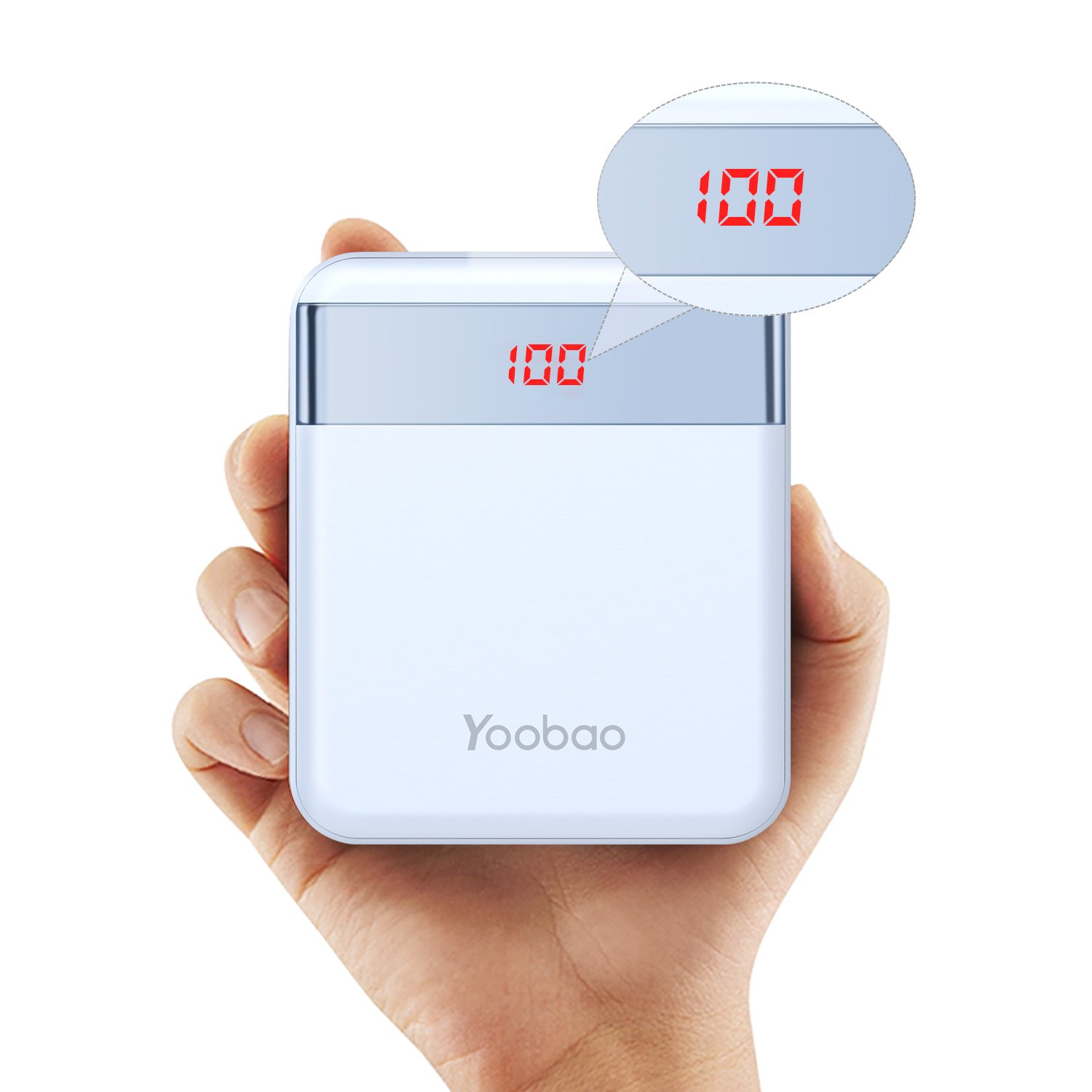 Power Bank 10000mAh Yoobao M4Pro Small Portable Charger LED Display Lightning & Micro Input External Cell Phone Battery Backup Dual Output 2.4A Compatible iPhone X 8 7 6 Plus Android Samsung etc- Blue