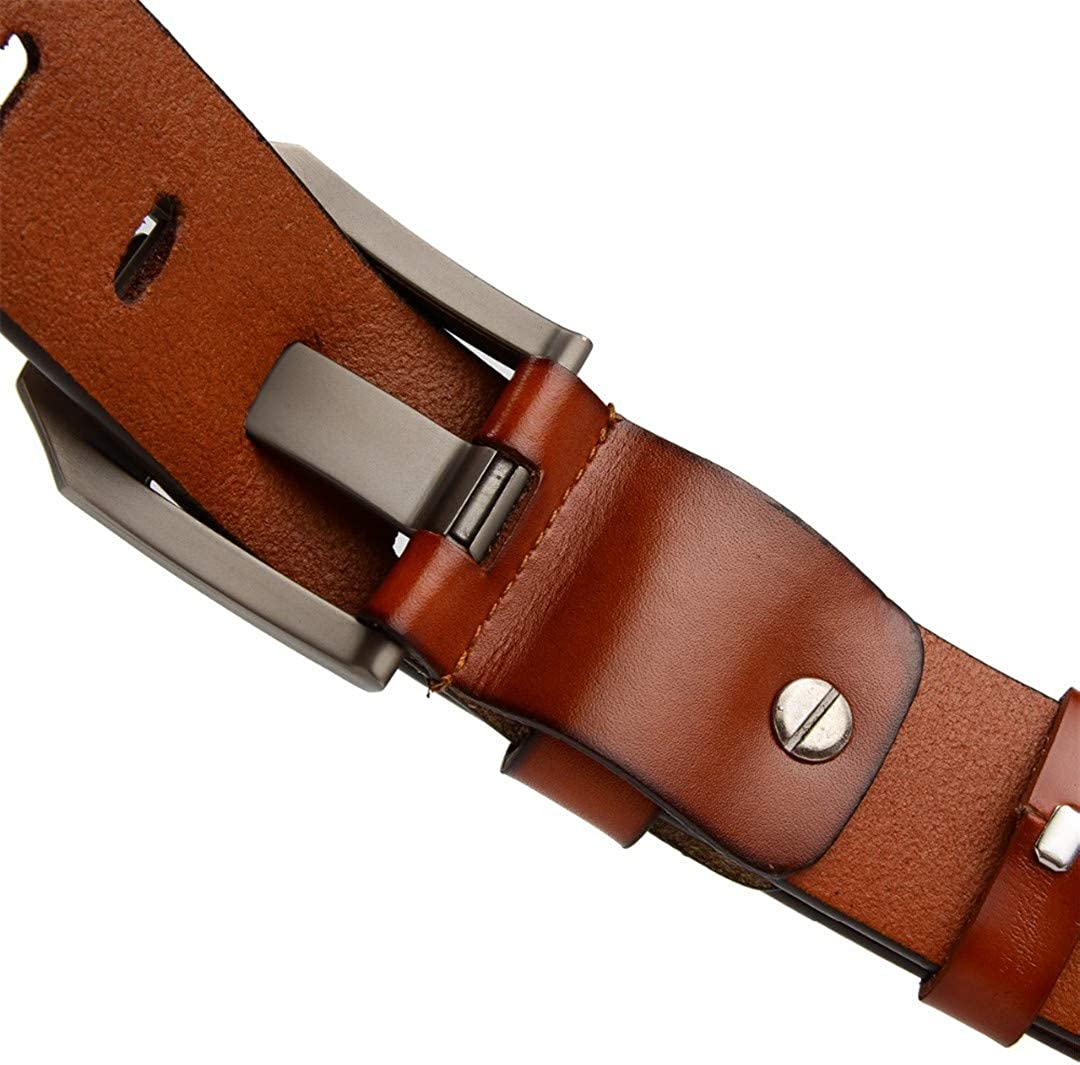 JUIHUGN Designer Luxury Genuine Leather Pin Buckle Belt for Men Business Men Belts Male Strap Yellowish Brown 120cm