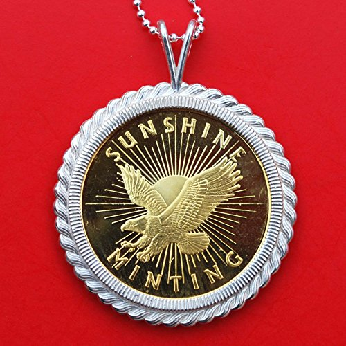 Sunshine Minting 24K Gold Gilded 1 Oz .999 Fine Silver BU Uncirculated Coin Solid 925 Sterling Silver Necklace -