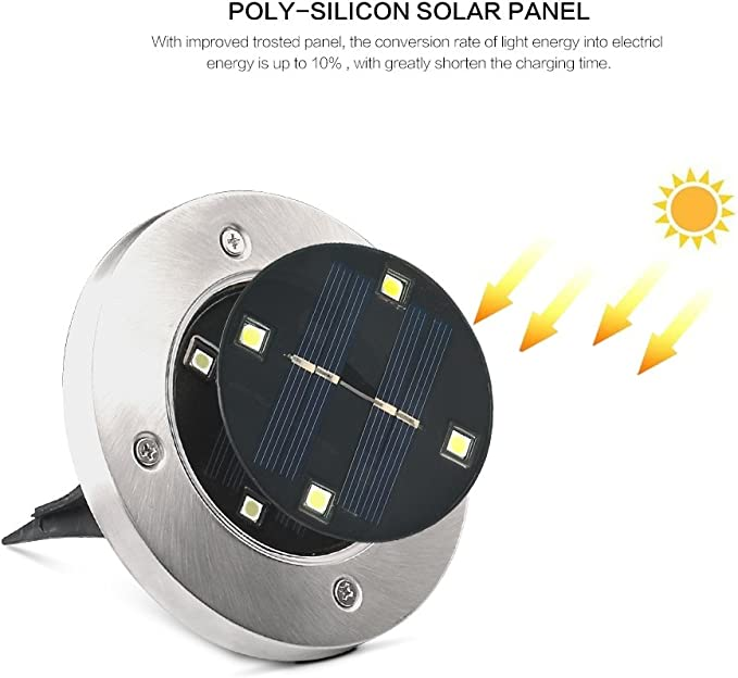 8 LED Solare Luci di terra per esterno giardino IP65 Geediar Solar Giardino Luci
