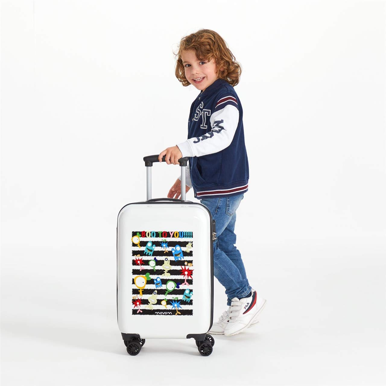 MOVOM Happy Time Kids Rolling Suitcase Boo to You Multicolour 55 centimeters