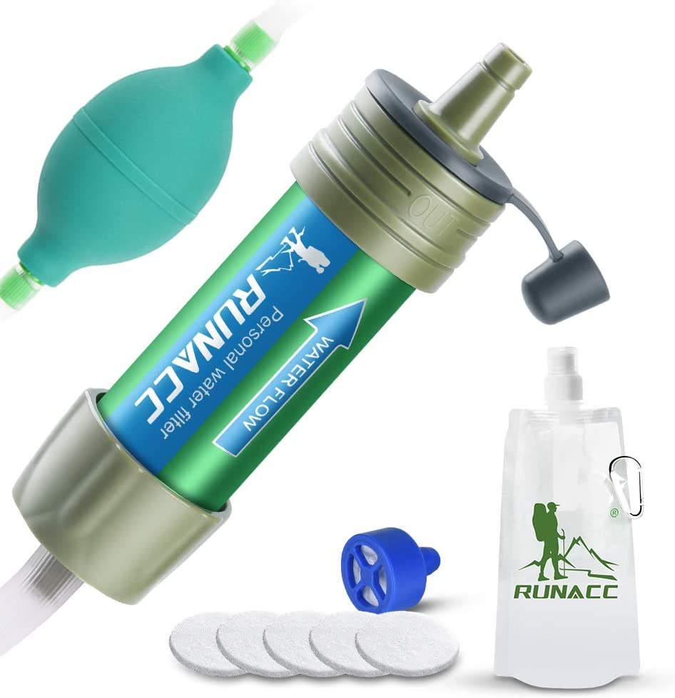 RUNACC Water Purifier Camping Straw Filtration System with Ball Pump Fast Drinking and Backflushing Design, 2000L Water Purifier Survival Kit Hurricane Storm Supplies