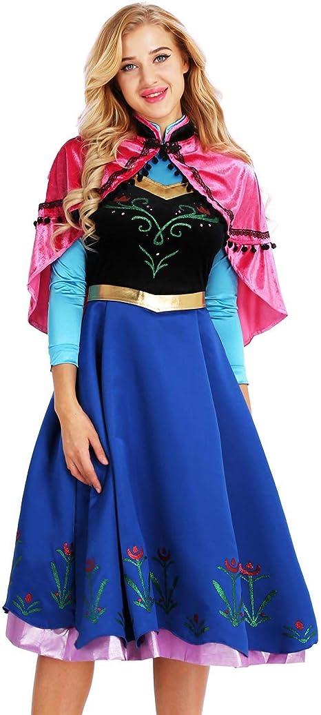 MSemis Disfraz Princesa Nieve para Mujer Vestido Princesa con Capa ...