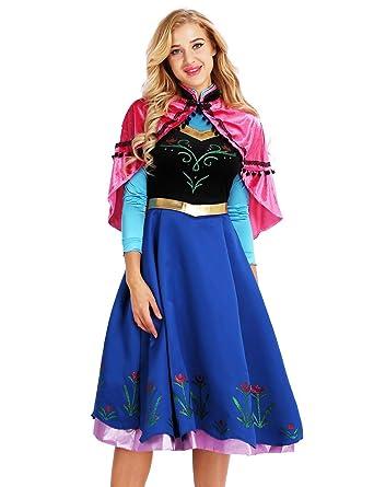YiZYiF Disfraz Princesa Nieve Mujer Chica Vestido Princesa Azul ...
