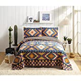 3 Piece Orange Purple King Southwest Theme Quilt Set, Native American Tribal Southwestern Country Diamond Shape Pattern Bedding, Warm Bright Vibrant Color Cabin Lodge Cottage, Cotton