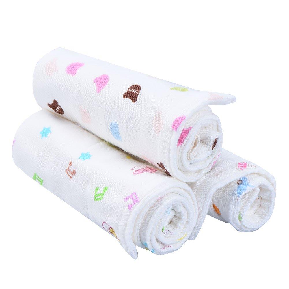 Pretty Ver toallitas para bebé suave Recién Nacido Bebé Toallas de cara 100% algodón orgánico Natural bebé Toallitas con diseño de patrones, apto para piel ...