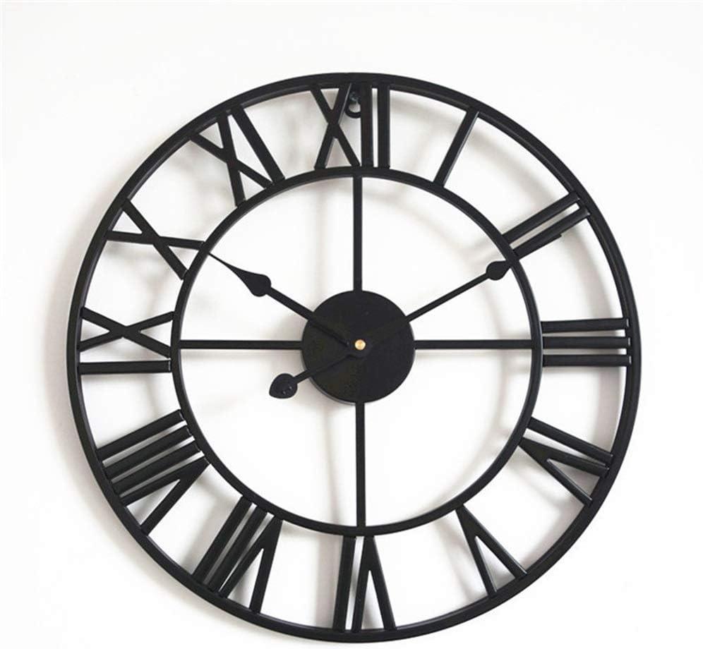 壁掛け時計 ローマ数字ブラック透かし彫りアートクォーツ時計壁掛け時計装飾時計は、ムーブメント時計に31.5インチを席巻します JPLLYY
