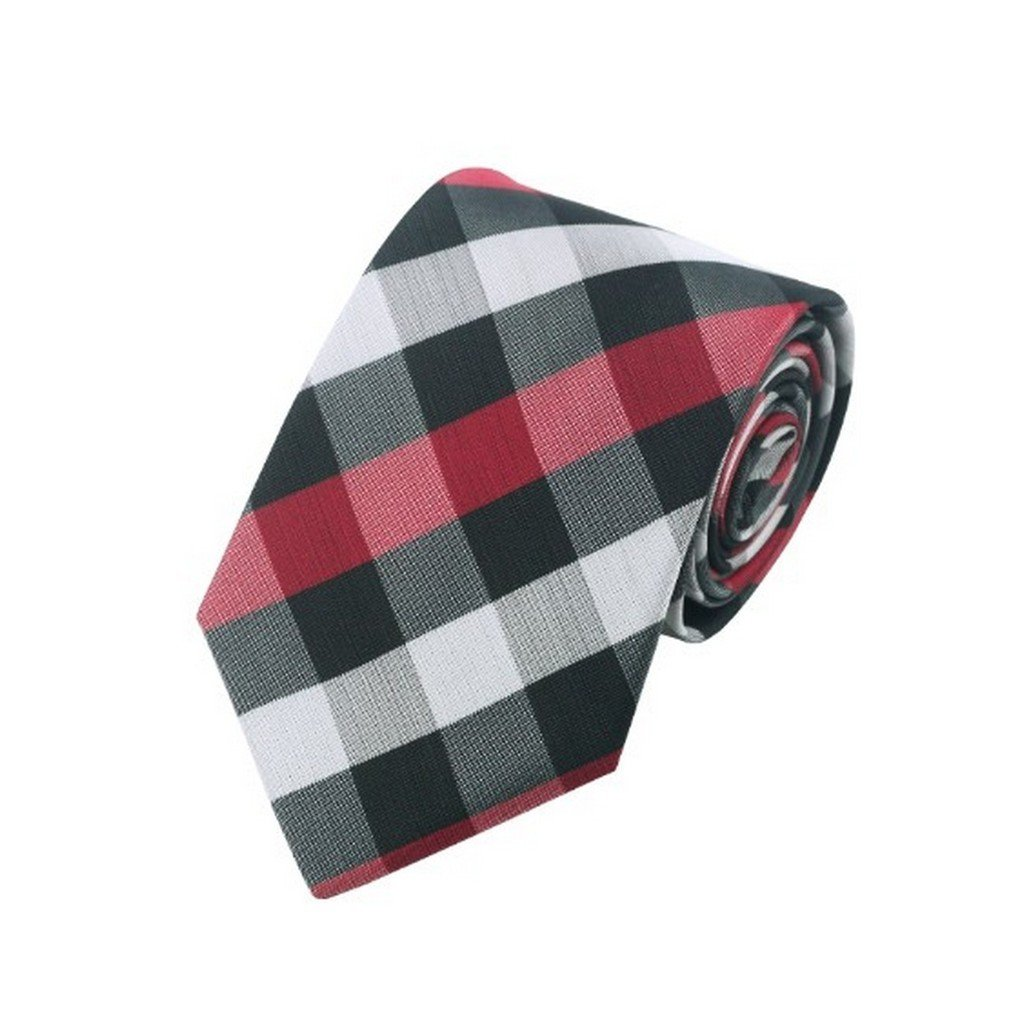 Black /& White /& Red Plaid Classic Silk Necktie Tie Hanky and Cufflinks Set For Men