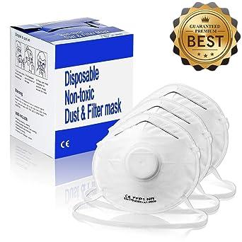 Mascarilla Antipolvo NASUM Máscaras Respiratorias Desechables FFP1 con Válvula Mascarilla Plegable contra Polvo Bacteria Virus Olor