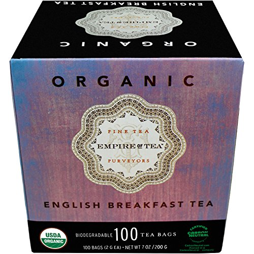 Empire of Tea USDA Organic English Breakfast Individually Wrapped Bulk Tea Bags, 100 Count