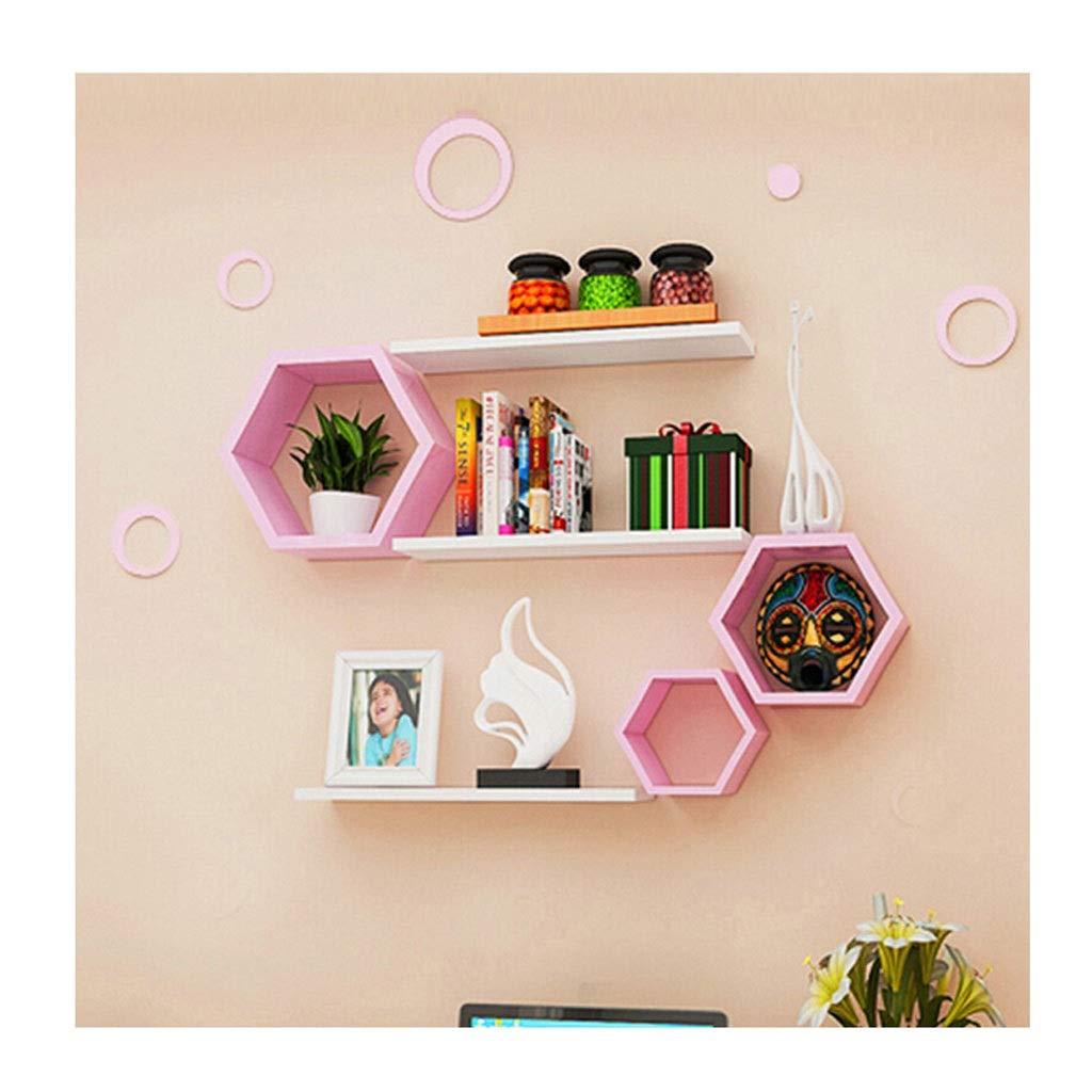 現代家の装飾のための浮遊棚の壁に取り付けられた創造的なピンクの白い組合せの壁の棚 B07SZTH78H