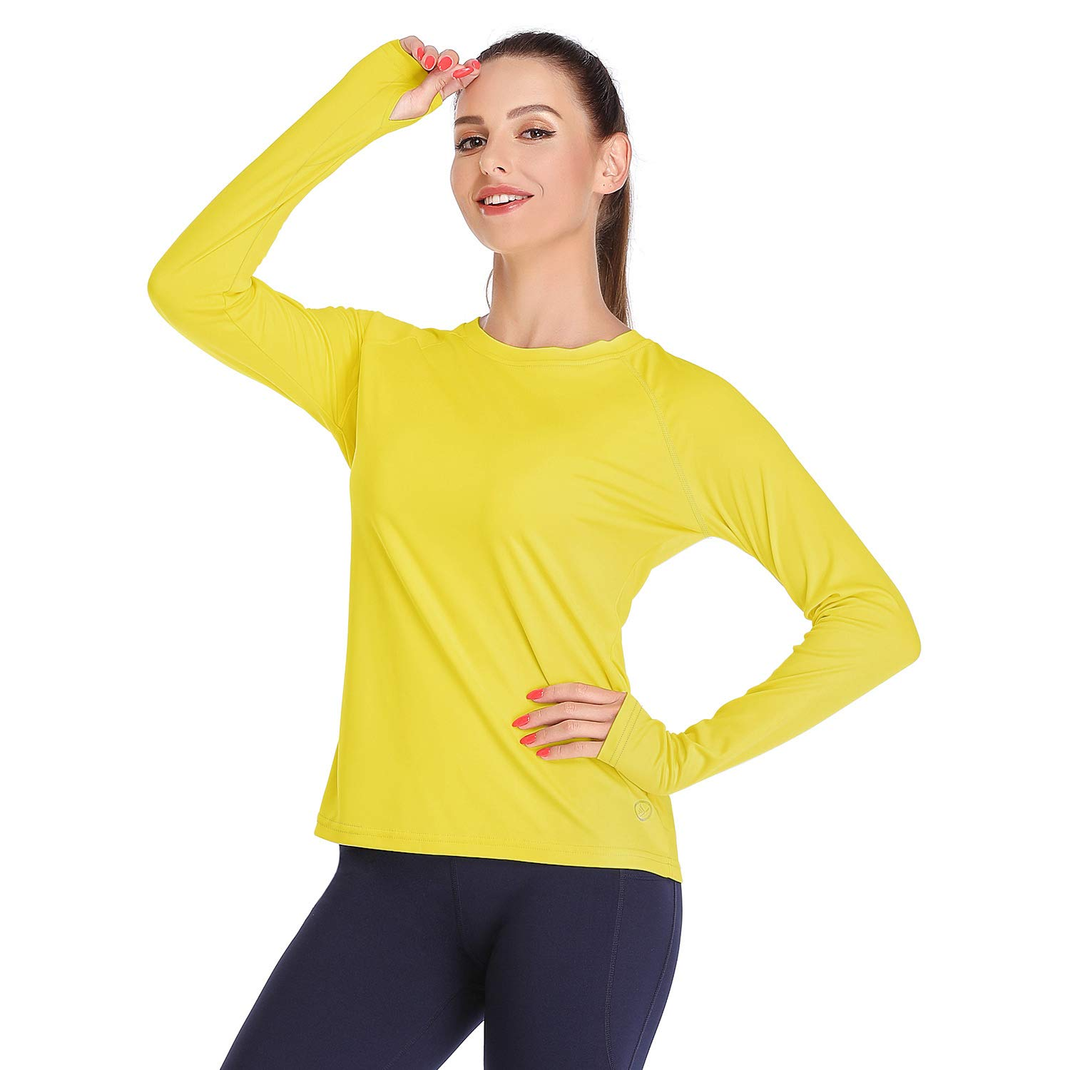 DAYOUNG Womens UPF 50+ UV Sun Protection Running Hiking Outdoors Performance Long Sleeve T-Shirt Athletic Top with Thumb Hole YWT11-Yellow-XL by DAYOUNG