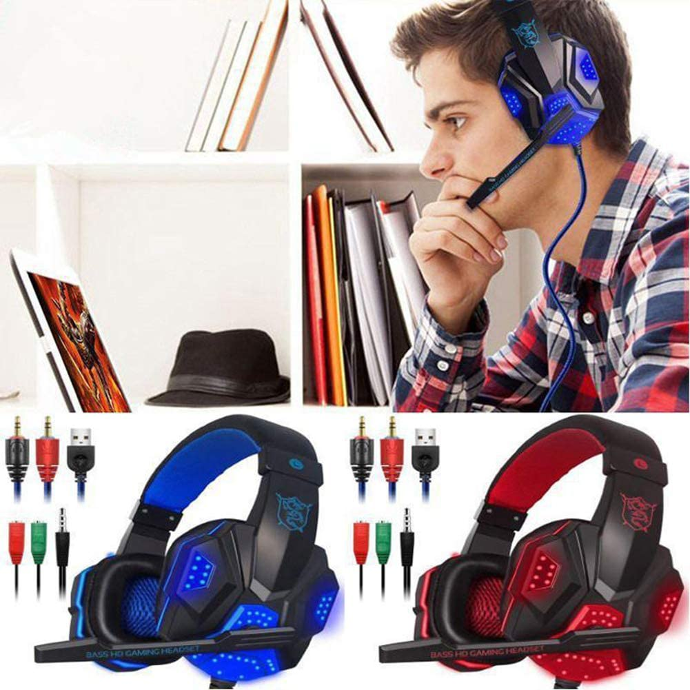 PC Gaming Headset,Gaming Headphones Wired Gamer Stereo Headset with Microphone LED Light Breathing Light Gaming Headset for Computer PC Gamers,Black red