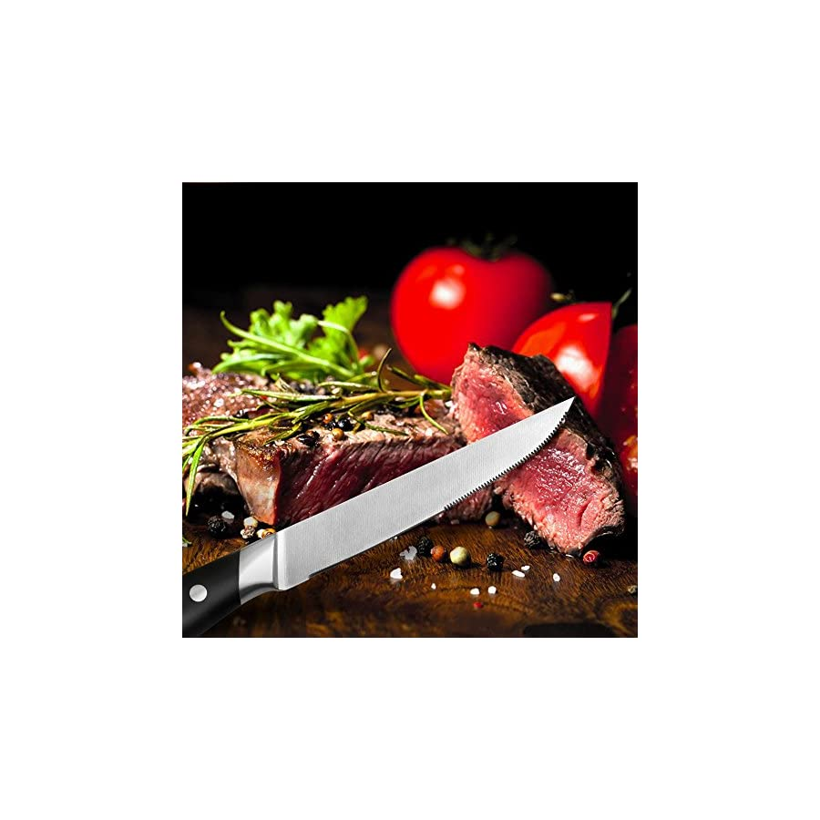Steak Knives,Premium Steak Knife Set of 6 Stainless Steel Professional Quality For Multipurpose Use Stainless Steel Serrated 5 inch Blade Safe Streak Knifes.