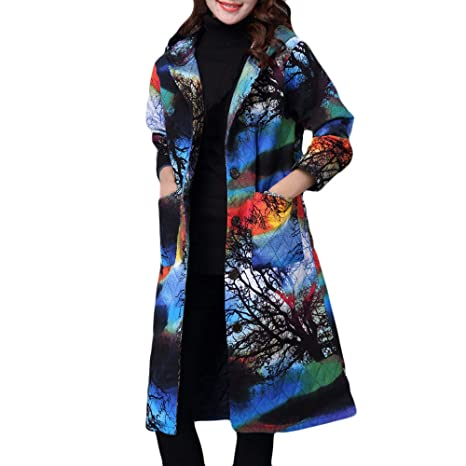 322a843a8ffa4 Amazon.com: Franterd Winter Coat Women Vintage Cotton-Padded Jacket Ethnic  Folk-Custom 3D Floral Long Puffer Parka Outwear M-4XL: Sports & Outdoors
