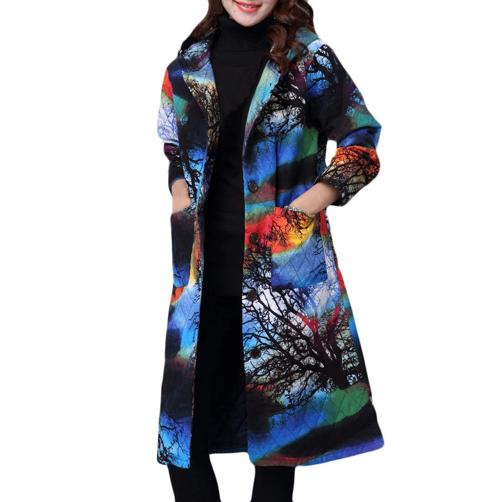 Beikoard Frauen Plus Größe Wintermantel Folk-Custom Cotton-Padded Jacke Lange Puffer Parka Loser Baumwoll Cardigan mit Langen Ärmeln im Langen Wintermantel