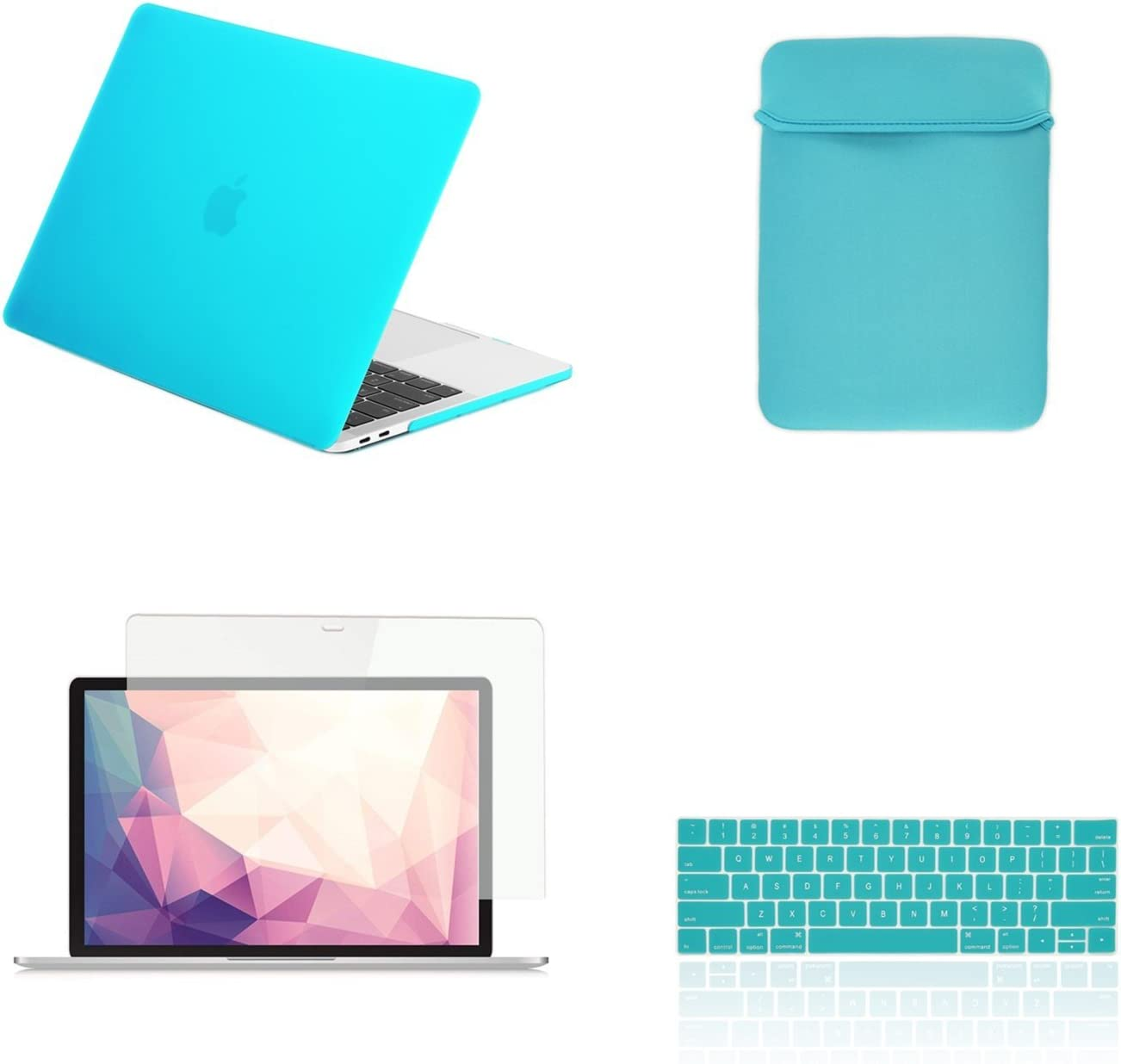 """TOP CASE MacBook Pro 13 inch Case 2019 2018 2017 2016 Release A2159 A1989 A1706 A1708, 4 in 1 Essential Rubberized Hard Case, Keyboard Cover, Screen Protector, Sleeve for MacBook Pro 13""""-Sapphire Blue"""