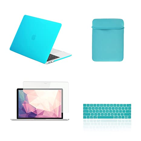 TOP CASE - 4 in 1 Matte Hard Case, Keyboard Cover, Sleeve, Screen Protector  Compatible with MacBook Pro 13