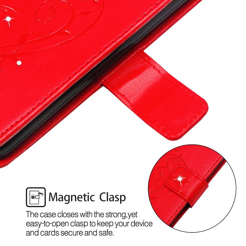 JAWSEU Compatible avec Samsung Galaxy A7 2018 Coque Portefeuille PU /Étui Cuir /à Rabat Magn/étique Retro Fleur Bling Glitter Brillant Fleur Diamant Strass Leather Flip Wallet Case,Noir