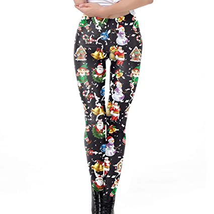 c604930a8717ef Amazon.com: Franterd Womens Christmas Yoga Pants Xmas Snowflake Bell Print  Tighten High Waist Pencil Trousers for Gym Yoga Running: Clothing