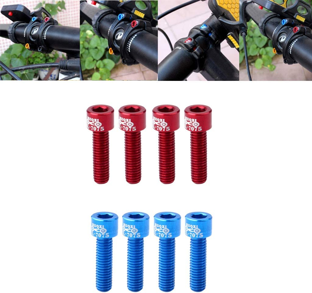 FLAMEER 8 St/ücke Stra/ße Fahrrad Lenker Vorbau Schraube Aluminiumlegierung M5 17mm Bolzen Blau Rot