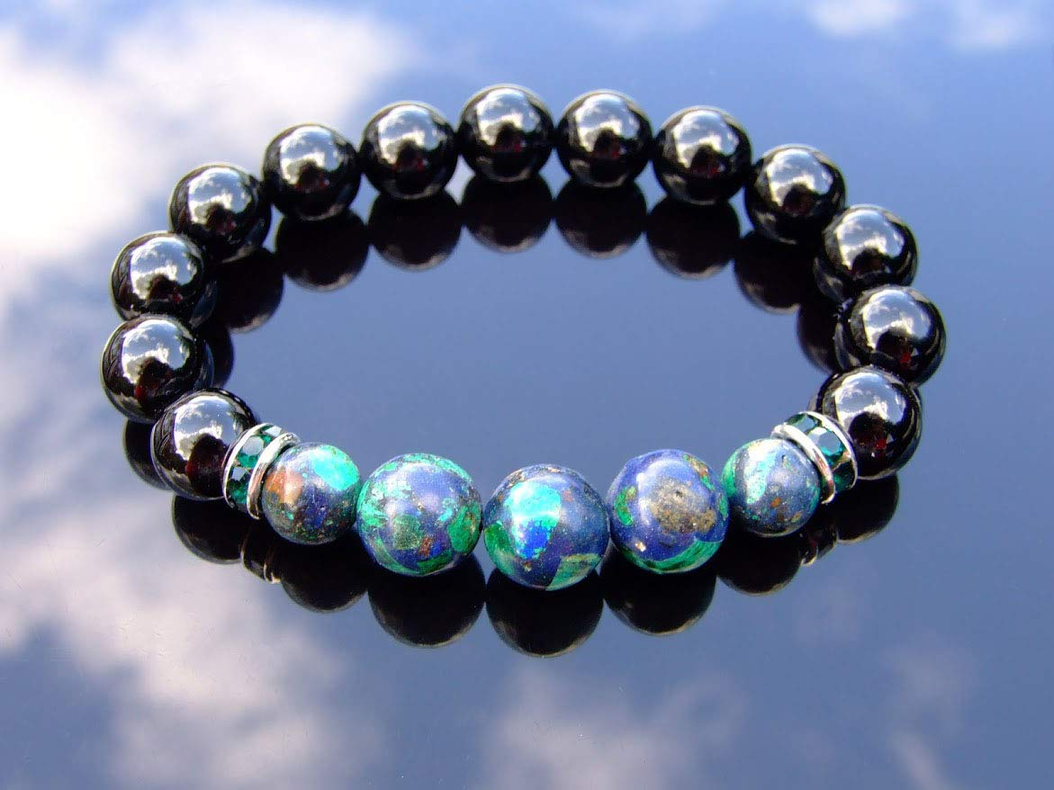 Tourmaline Azurite 10mm Natural Gemstone Bracelet Beaded 6-9 Elasticated He1aling Stone Chakra Reiki With Pouch FREE UK SHIPPING