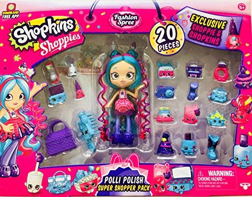 Shopkins Shoppies Food Fair Exclusive 20 Piece Polli Polish Super Shopper Pack -