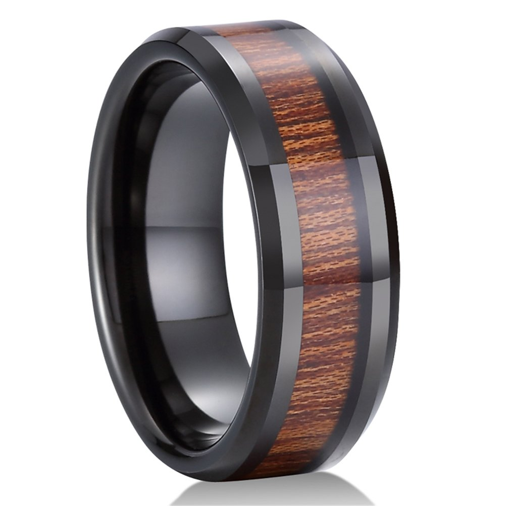 Mens Womens 8mm Black Tungsten Carbide Ring KOA Wood Vintage Wedding Engagement Promise Band Comfort Fit Size 12