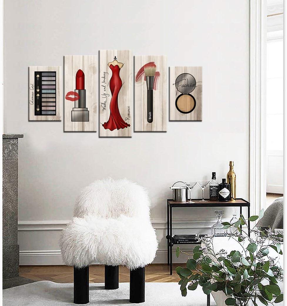 Large 16 Piece Canvas Wall Art Fashion Makeup Pictures Vintage Wood