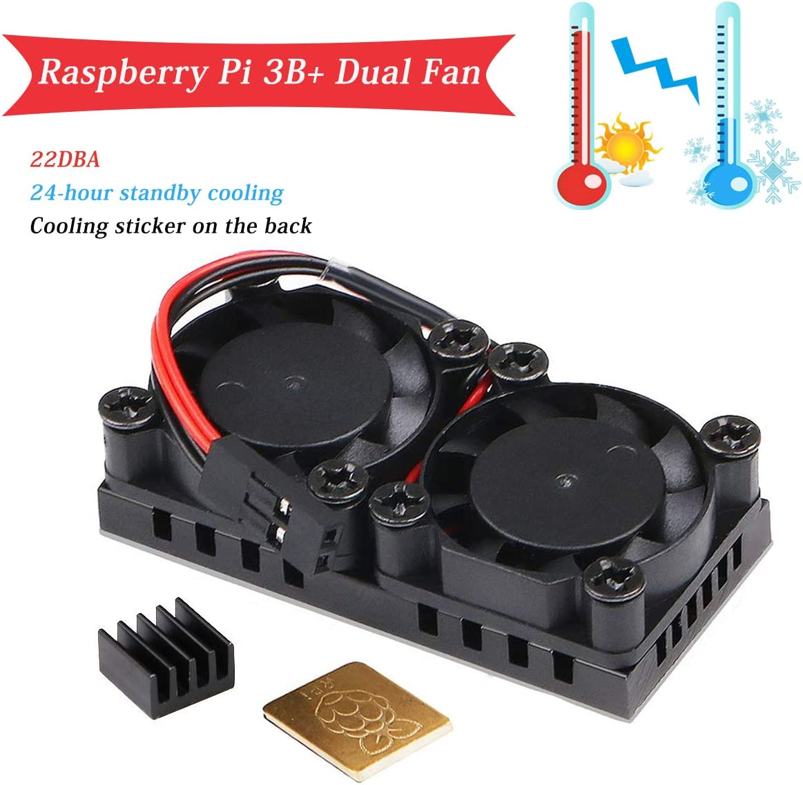 MakerFocus Raspberry Pi 3 B+ Dual Fan, Raspberry Pi Cooling Fan with 2pcs Heatsink, for Raspberry Pi 3 B+, Ultimate Cooling and 22DBA Quiet Fan for RPI 3 B+