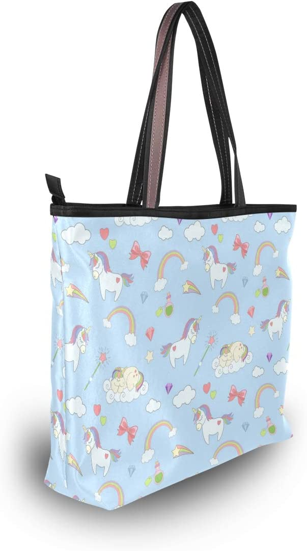 Women Handle Pattern With Cute Unicorns Satchel Handbags Tote Purse Shoulder Bag Big Capacity Handbag