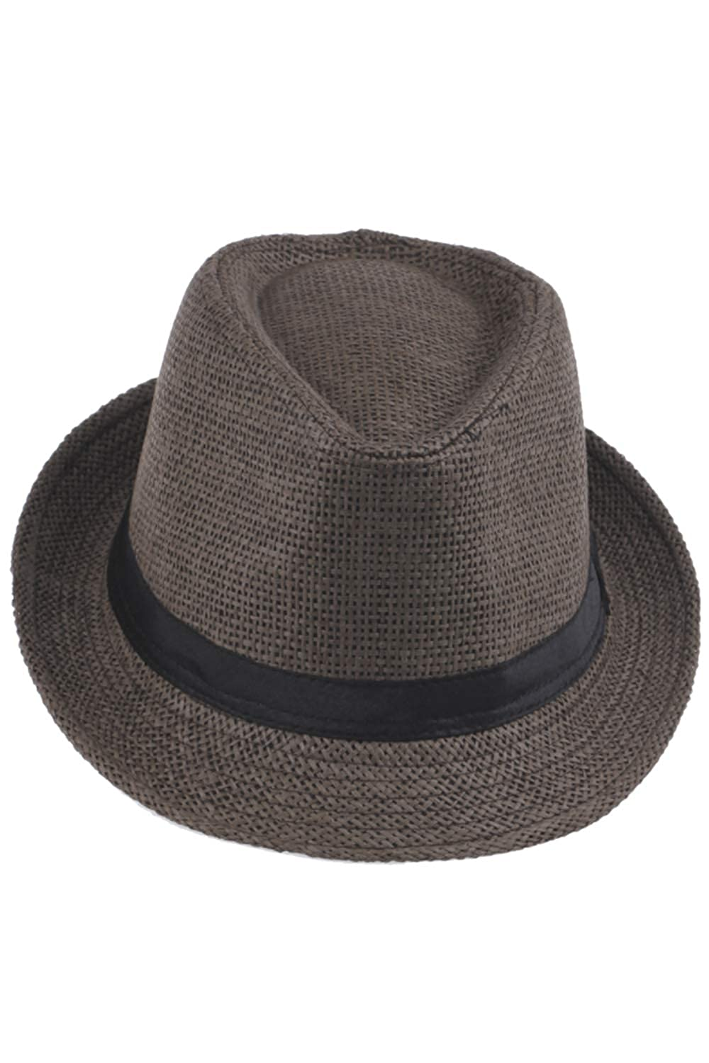 Jomuhoy Men Summer Straw Beach Hat Short Brim Panama Sunhat Fedora Caps with Band CAJOM453-Beige-F