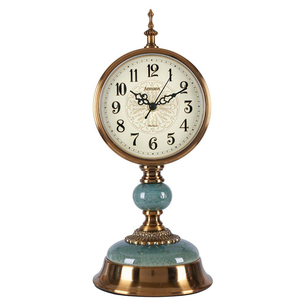TOYM US European-style copper brass clock antique copper creative silent quartz clock