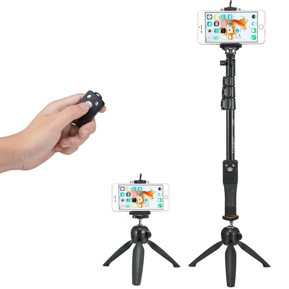 accmor Tabletop Selfie Stick Monopod with Bluetooth Remote & Tripod Stand for iPhone and Android, iPad, Cell Phone and Tablets, GoPro, Sony Action Cam and Sports Camera(Black)