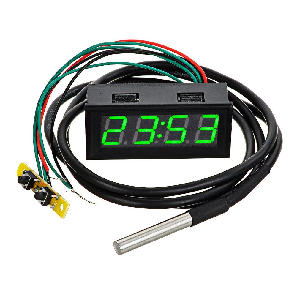 AVOLUTION ABS 3-in-1 Car Time/Voltage/Temperature Meter w/2'' Green LED Display