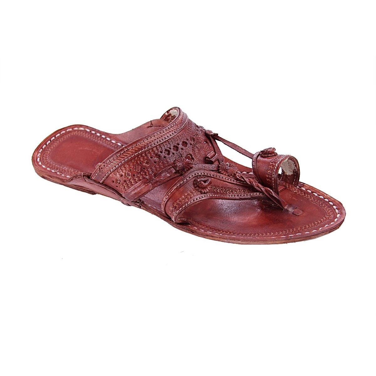 original kolhapuri chappal Traditional red eye-catching red Traditional brown for men slipper sandal B078BS6R6B Sandals 672cfb