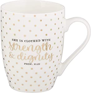 Strength & Dignity Proverbs 31:25 Ceramic Christian Coffee Mug for Women and Men - Inspirational Coffee Cup and Christian Gifts (12-Ounce Ceramic Cup)