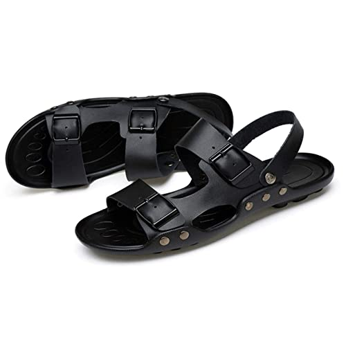 3e30db7397fdc Qiucdzi Mens Sandals Casual Open Toe Leather Shoes Comfortable Summer Beach  Adjustable Strap Slippers