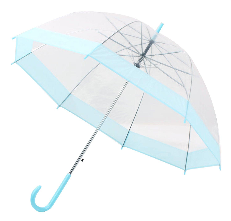 HappyGo Full Automatic Transparent Clear Travel Beach Umbrella for Women Girls Blue