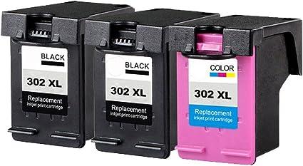 Teng® - 3 cartuchos de impresora HP 302 302XL compatibles con Officejet 5230 5220 3831 3833 3830 3832 4650 5252 5255 Deskjet 1110 2130 3639 3630 3636 Envy 4525 4520: Amazon.es: Oficina y papelería