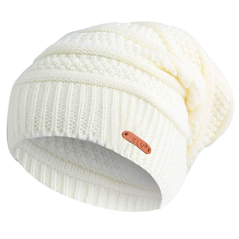 Moonuy Bonnet dhiver Femme Chauffant Bonnet Tricot avec Écharpe de Doublure  Polaire Hiver Chapeau Beanie pour f92a764f2186