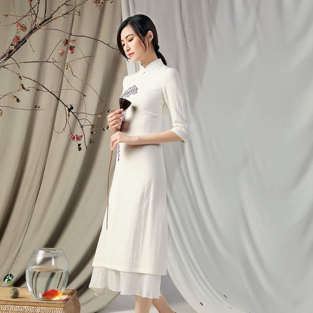 KSUA Vestito Elegante da Meditazione in Cotone 2 Pezzi di Lino Orientale di Bellezza Femminile