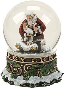 Joseph's Studio 100-MM Kneeling Santa Musical Glitter Dome