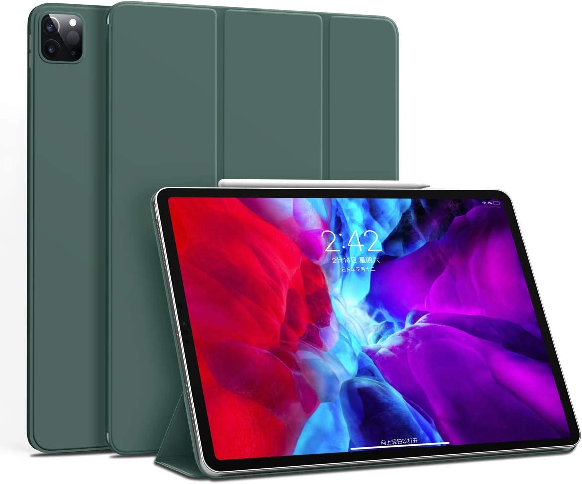 """GUDOU iPad Pro 11"""" Case 2020 & 2018 ,Ultra Slim Frameless Cover with Strong Magnetic Attachment[Supports Apple Pencil Pair & Charging],Trifold Stand Case with Auto Sleep/Wake (Dark Green)"""