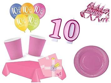 Xxl Party Deko Set 10 Geburtstag Kindergeburtstag 54 Teilig Rosa