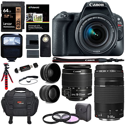 Canon EOS Rebel SL2 DSLR Camera, EF-S 18-55mm STM, Canon EF 75-300mm Telephoto Lens, 64GB, Telephoto, Wide Angle Lens, Filter Kit and Accessory Bundle by Ritz Camera