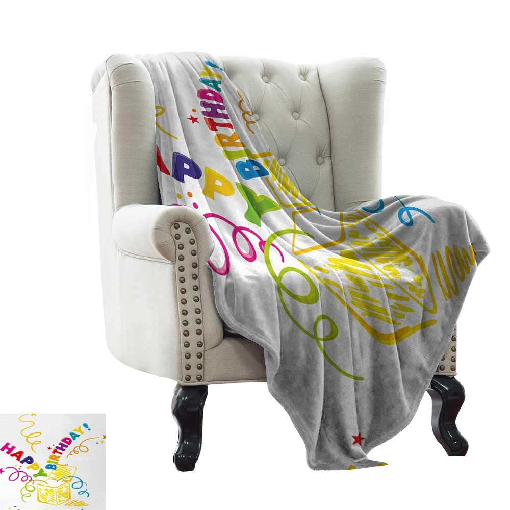 color12 50 x70  Inch BelleAckerman Weighted Blanket Adult Birthday,Sketch Art Style Birds Cupcakes Baby Carriages and Tulip Flowers Newborn Theme,Multicolor for Bed & Couch Sofa Easy Care 50 x60