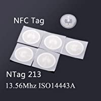 xcluma 5PCS x NFC Tag Ntag213 Sticker 25mm Stickers 13.56MHz ISO14443A NFC Tags for all NFC Enabled Phone