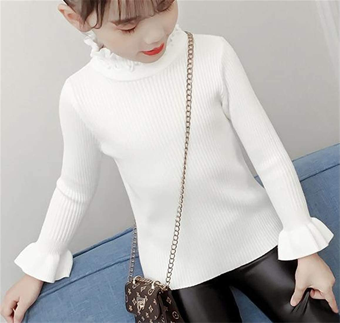 Lutratocro Girls Mock Neck Pure Color Pullover Knitted Long Sleeve Sweater