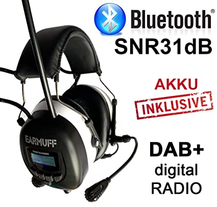Auriculares de protección auditiva SNR 24 dB con radio digital y Bluetooth ...